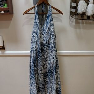 Ann Taylor summer halter dress blue white floral